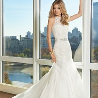 All Lace Wedding Dress with Tulle Godets