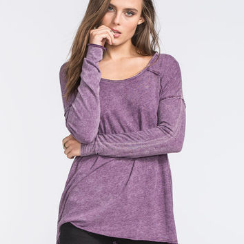 Full Tilt Mineral Wash Womens Tee Berry  In Sizes