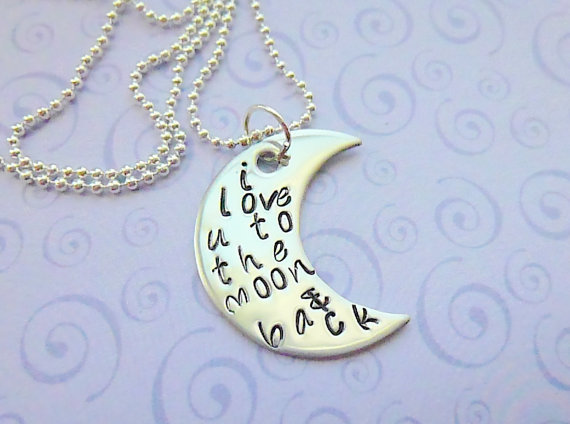 I love you to the moon & back   Hand Stamped Necklace