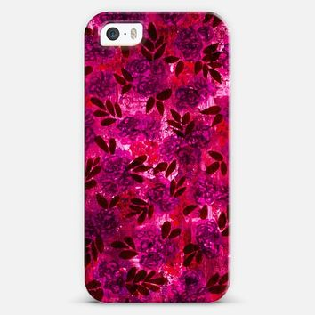 GRUNGE FLOWERS 4 Hot Pink Fuchsia Magenta Pink Purple Neon Pretty Nature Watercolor Floral Pattern Garden Modern Abstract Colorful Fine Art Painting iPhone 5s case by Ebi Emporium | Casetify