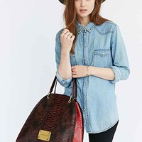LIEBESKIND Pam Snake Leather Bag- Maroon One
