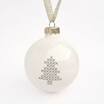 Ceramic Christmas Ornament With Tree