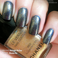 Layering NOTD: Chanel ? Illusion D?Or over China Glaze ? Midnight Mission and a haul | The Swatchaholic . a blog about nail polish and makeup