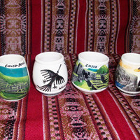 Set of 4 Peruvian Pisco Cups with landscapes of Peru.
