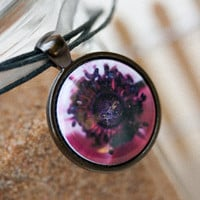Beautiful inner flower wearable art necklace with free cord and domestic shipping.