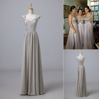 Cap Sleeves Grey Wedding Party Bridesmaid Prom Formal Long Evening Dress Military Gown