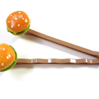 Cheeseburger Bobby Pins - Miniature Food Hair Pins