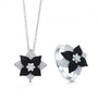 Micro Pave Black And White Cubic Zirconia CZ 925 Sterling Silver Floral Pendant Necklace And Ring Matching 2 Pc Set #vs231