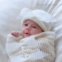 Crochet Baby Cocoon and Hat Pattern - Newborn Photo Prop - Baby Bows