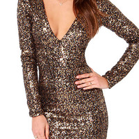 V Neck Metallic Gold Sequin Long Sleeve Bodycon Dress