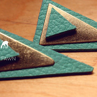 Turquoise Geometric Leather Dagger Stud Earrings