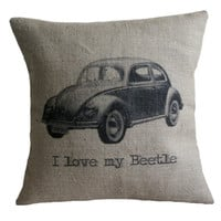 I Love my Beetle Hessian Burlap Pillow Cushion Cover 16""