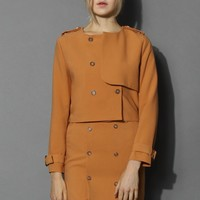 Double Breasted Flap Coat and Skirt Set in Mustard Yellow