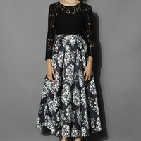 Grace Lace and Flower Print Prom Dress in Black Black