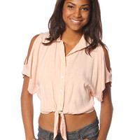 Papaya Clothing Online :: CUT OFF SHOULDER KNOTTE BLOUSE