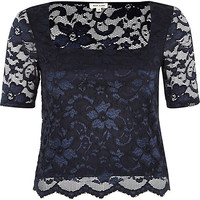 River Island Womens Navy lace square neck fitted top