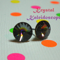 Atlas Rivolis - Multi Color - Crystal Post Earrings handmade with Swarovski Crystallized Elements, 8mm Studs
