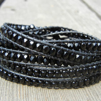 Beaded Leather 5 Wrap Bracelet with Jade Black Czech Glass Beads