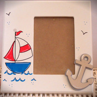 Personalized Hand Painted Frame with Nautical Theme