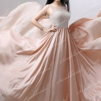 Elegant Ladies Pearls Satin Long Prom Party Dresses Formal Evening Cocktail Gown