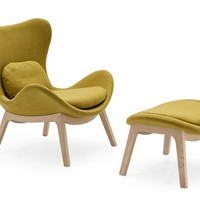 Fabric wingchair LAZY by Calligaris | design Michele Menescardi