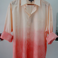marks & spencer  long Sleeves Peach And pink Wash Ombre Buttondown Shirt size XL mens