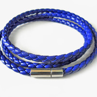 Bangle leather bracelet buckle bracelet men bracelet women bracelet made of blue leather woven metal buckle bracelet cuff  SH-1823