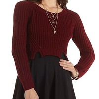 Cropped Pointelle Pullover Sweater by Charlotte Russe - Oxblood
