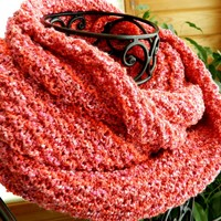 Hot Pink and Orange Infinity Scarf, Extra Long, Very Soft, Hand Knit