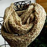 Brown Infinity Scarf, Extra Long, Very Soft, Hand Knit
