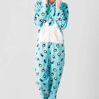 Polka Dot Penguin Fleece Onesuit