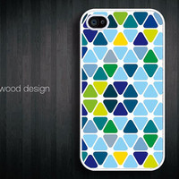 Iphone case iphone 4 case iphone 4s case iphone 4 cover colorized patches of colour Green blue style graphic design printing ($13.99)