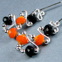 Halloween Ear Pins Sterling Silver Orange and Black Crystal