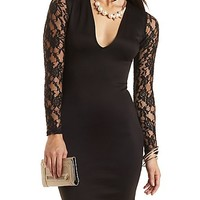 Deep V Lace Long Sleeve Bodycon Dress by Charlotte Russe - Black