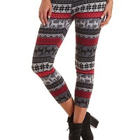 Fleece-Lined Reindeer Leggings by Charlotte Russe - Gray Combo