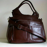 Brown Leather Weekend Travel Laptop.. on Luulla