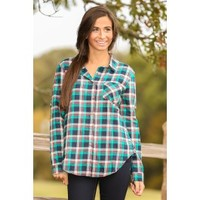 Pretty As A Button Plaid Blouse