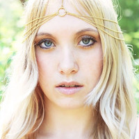 Simple 3 Tier Gold Chain Headdress, Head Chain, Chain Headband, Chain Headpiece, Bridal Head Piece