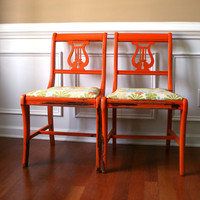 Dining Chairs Pair. Lyre Back Harp. Wood. Tangerine Tango Orange. Cottage Chic Home Decor. Antique Mahogany Chairs. Curationnation. eveteam.