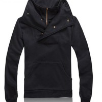 Mens Fashion Slim Cotton Black Tops/Hoody M/L/XL @W007B