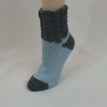 Wool Slipper Socks, Thick Boot Socks, Grey Ankle Leg Warmers, Warm Women House Socks