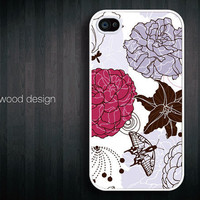 unique iphone 4 case iphone 4s case iphone 4 cover illustration purple red flower graphic iphone  case design ($13.99)