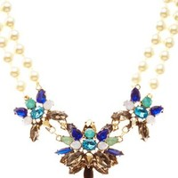 Pearl & Faceted Stone Statement Necklace by Charlotte Russe - Multi