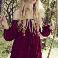 For Love & Lemons Sangria Mini Dress in Crimson