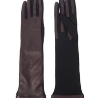 Long-length leather and wool gloves