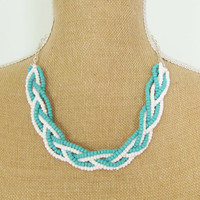 Braided Necklace Turquoise Blue and Bright White Glass Beads on Silver Chain