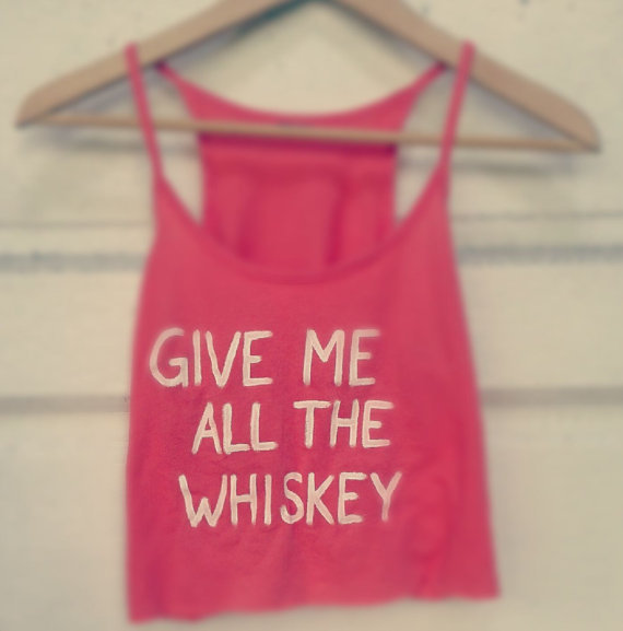 Give Me All the Whiskey Crop Top Racerback Tank