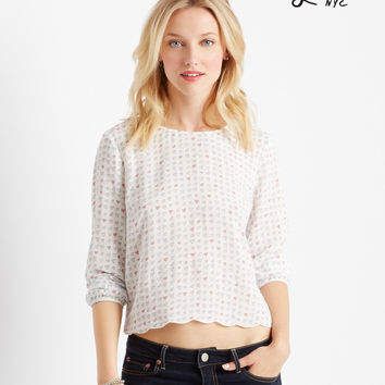 Aeropostale  Lorimer Long Sleeve Heart Print Cropped Blouse