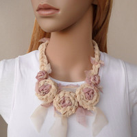 Flower Fiber Necklace Dusty Pink Rose Smoke and Cream Silk Chiffon Shabby Chic Fashion Accessory Unique Fabric Crochet Necklace