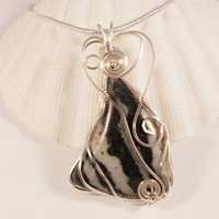 Wire Wrap, Black and White Zebra Jasper, Jewelry, Handmade, Pendant, Necklace, elainesgems